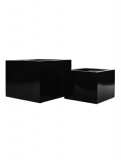 Fibrestone Glossy black middle high block (2) Plant Pot