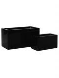 Fibrestone Glossy black jort light mini (2) Plant Pot