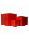 Fibrestone Glossy red block Plant Pot
