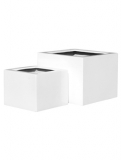 Fibrestone Glossy white middle high block (2) Plant Pot