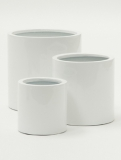 Fibrestone Mini Glossy white puk light (3) Plant Pot